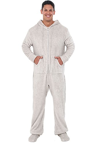 (Alexander Del Rossa Mens Fleece Onesie, Hooded Footed Jumpsuit Pajamas, 3XL Vintage Heathered Light Grey)