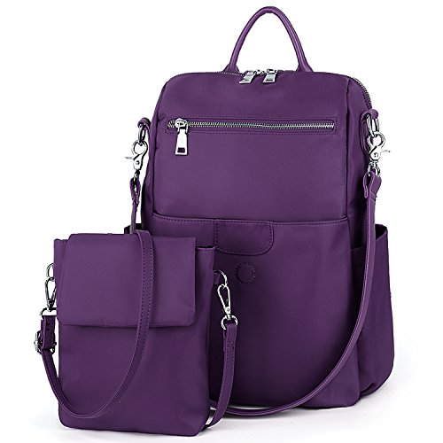 (UTO Women Backpack Purse Oxford Waterproof Cloth Nylon Ladies Rucksack Detachable Crossbody Shoulder Bag D Purple)