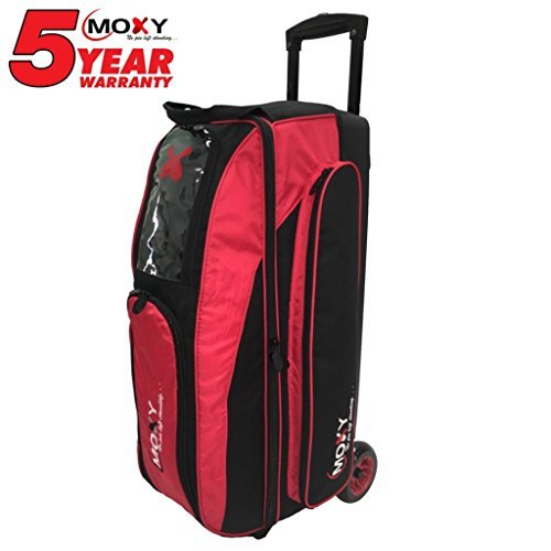 Moxy Bowling Products Blade Triple Roller Bowling Bag- Red/Black For Sale