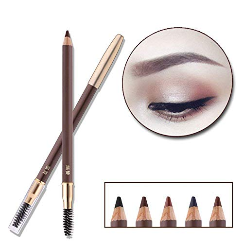 Eyebrow Pencil Longlasting Waterproof Durable Automaric Liner Eyebrow 5 Colors to Choose (2# Dark Brown)