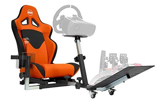 Openwheeler GEN2 Racing Wheel Stand Cockpit Orange on Black | Fits All Logitech G29 | G920 | All Thrustmaster | All…