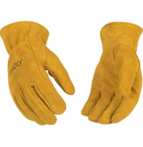 Kinco 50 Youth Garden Gloves for Kids Golden Suede Cowhide Leather Gloves, 1 Pair