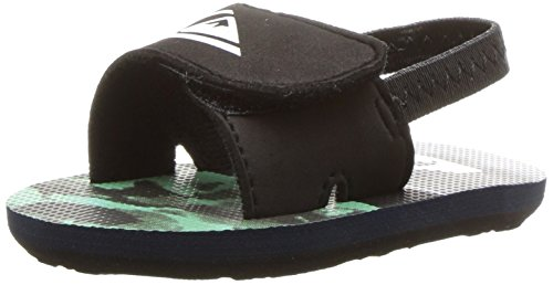 Quiksilver Youth Molokai Layback Flip Flop Sandal, Black/Green/Grey, 4 M US Infant