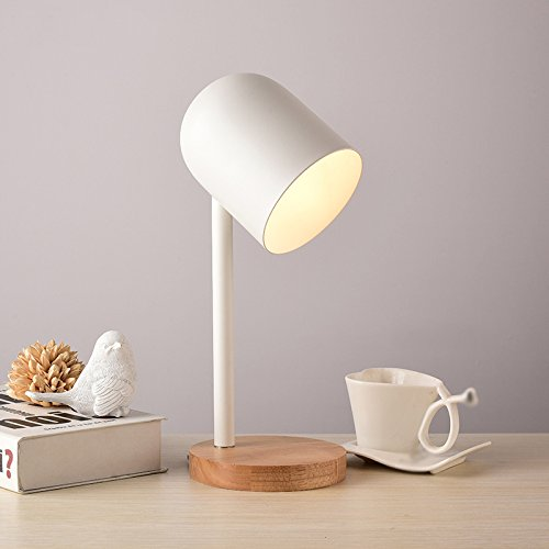 Uus Tischlampe Holz Schmiedeeisen Schlafzimmer Nachttischlampe E27-Birnen-Sockel 16  38CM warmes Licht (energiesparendes A +) (Farbe   Weiß)