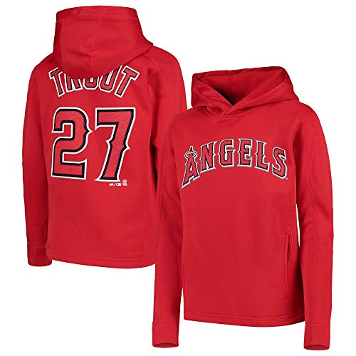 Outerstuff MLB Youth 8-20 Polyester Performance Player Name & Number Pullover Sweatshirt Hoodie (Large 14/16, Mike Trout Los Angeles Angeles Red) ()