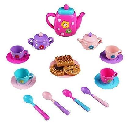 TONZE Servizio Piatti Cucina Giocattolo Servizio da tè Accessori Cucina  Giocattolo per Bambini Gioco di Ruolo Bambini (Colore Casuale)