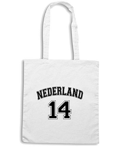 T-Shirtshock - Bolsa para la compra T0646 NEDERLAND OLANDA calcio ultras Blanco