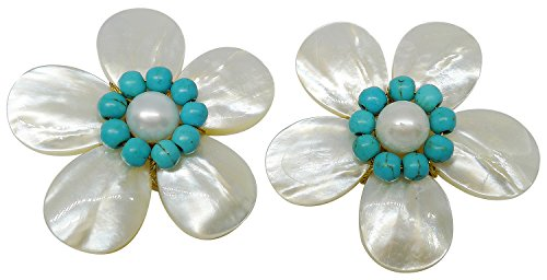 Bijoux De Ja Handmade Blue Beads Shell Pearl Pollen and Mother of Pearl Flower Clip on ()