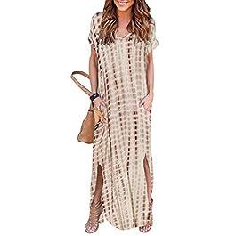 YOINS Women Casual Round Neck Maxi Dress Short Sleeve Split Summer Long Dresses Tunic Top
