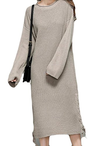 Dresses Straps Beige Comfy Women Cross Long Mid Length Evening Sleeved qfwvp8Fx