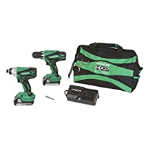 Hitachi KC18DGL 18-Volt Cordless Lithium Ion Driver Drill and Impact Driver Combo Kit (Lifetime Tool Warranty)