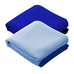 THE RAG COMPANY (2-Pack) Dry Me A River Jr 20 in. x 40 in. Professional Korean 70/30 Microfiber Waffle-Weave Drying & Detailing Towels with Silky Soft Satin Edges