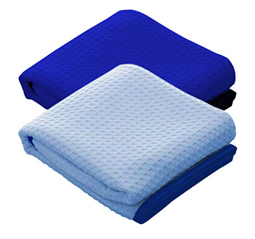 THE RAG COMPANY (2-Pack) Dry Me A River Jr 20 in. x 40 in. Professional Korean 70/30 Microfiber Waffle-Weave Drying & Detailing Towels with Silky Soft Suede Edges ()