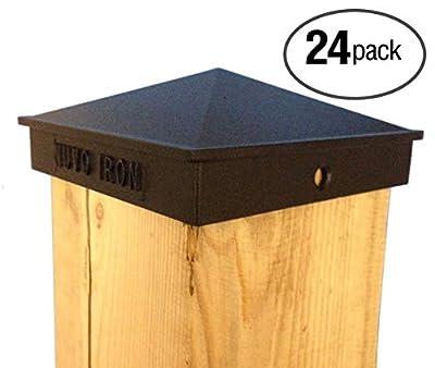 """Nuvo Iron Decorative Pyramid Aluminium Post Cap for 5.5"""" x 5.5"""" Posts - Black [24 Pack]"""