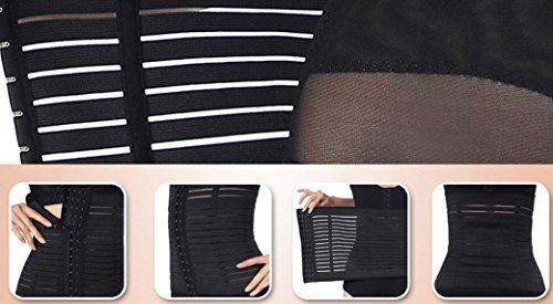 Tangda Mujer Postparto Recuperación Faja Reductora Cintura Abdomen Lencería Moldeadora Corset con 4 Filas de 15 Ganchos Elástica Transpirable Adelgazamiento Underbust Cincher Shapewear Negro