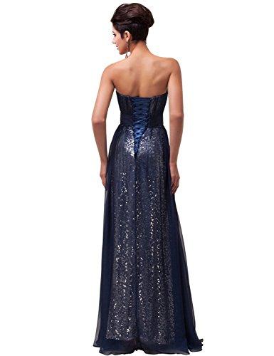 Grace Karin Women's Empire Waist Beaded Strapless Evening Maxi Dress (6, Navy Blue)