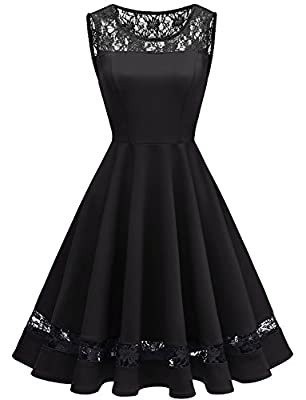 Gardenwed Women's 1950s Sleeveless Floral Lace Cocktail Party Dress Vintage Fall Dress