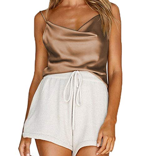Womens Silk Spaghetti Strap Camisole Sexy Adjustable Satin Slip Soft Vest Tank Top for Women Khaki