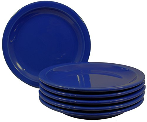 ITI Heavy Duty, Small Ceramic Dinner Plates with Pan Scraper, 6-Pack (7.25 Inch, Cobalt Blue)