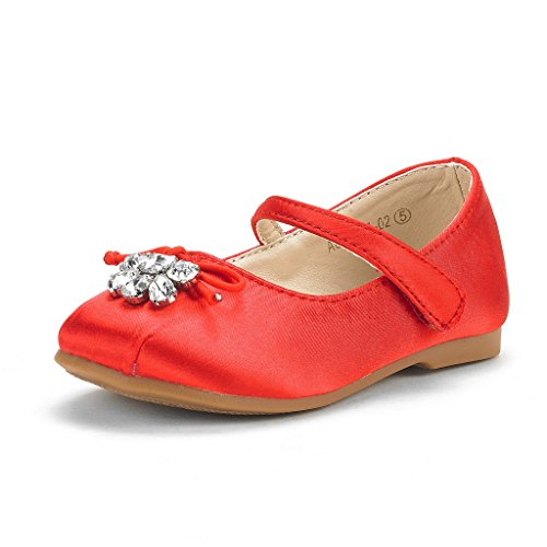 DREAM PAIRS Toddler Aurora-02 Red Girl's Wedding Mary Jane Ballerina Flat Shoes Size 4 M US Toddler