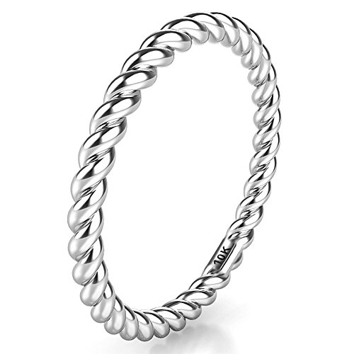 Sz 6.0 Solid 10K White Gold 2MM Eternity Rope Wedding Band Ring ()