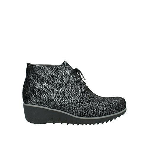 Wolky Comfort Lace up Boots Dusky Winter 40000 Black Printed Suede