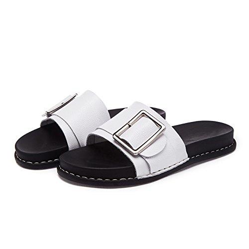 ZPPZZP Ms sandali pantofole indossa selvatici piana scanalata stile Coreano 36EU bianco