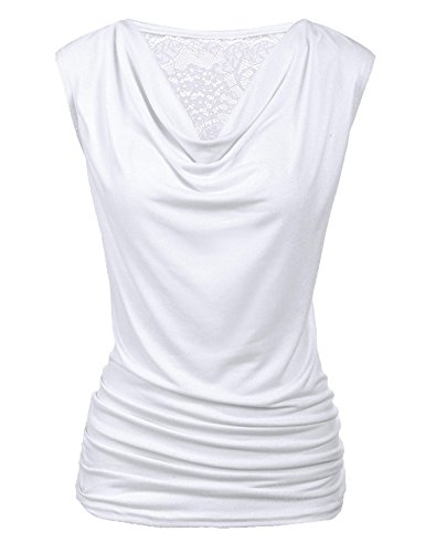 Zeagoo Women's Summer Solid V Neck Ruched Side Slim Fit Casual Tank Tops, White, X-Large