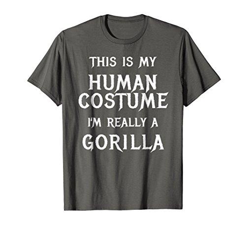 Mens Gorilla Halloween Costume Shirt Easy Funny Gift Idea Small Asphalt