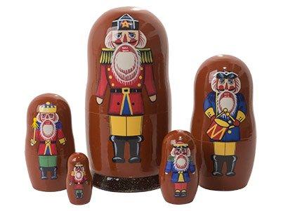 (Nutcracker Soldier 5-piece Russian Wood Nesting Doll Matryoshka Stacking Dolls)