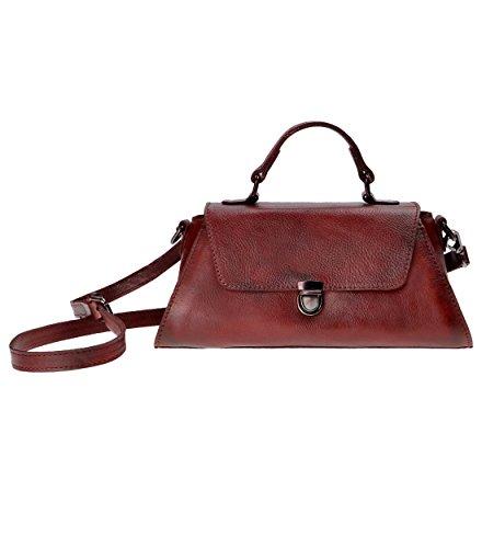 Zlyc Women's Handmade Dip-dye Leather Mini Shoulder Bag Cross Body Bag (red) Qy-sh1606-xy8505-rd