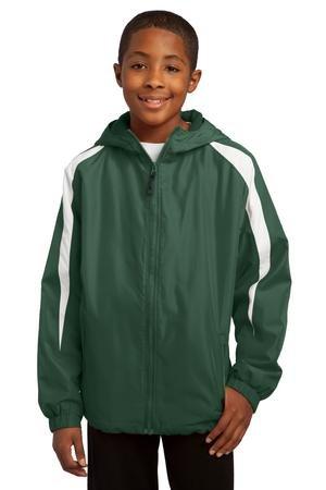 Sport-Tek Youth Fleece-Lined Colorblock Jacket, Forest Green/White, M by Sport-Tek