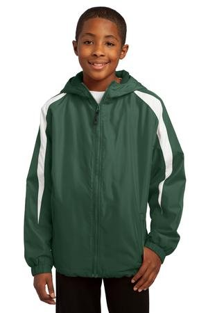 Sport-Tek Youth Fleece-Lined Colorblock Jacket, Forest Green/White, M