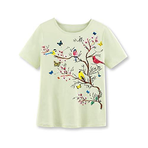 Bird Womens Light T-shirt - Women's Songbirds on Branches Sparkling Sequined T-Shirt - Light Green Top for Bird Lovers, Sage, Xx-Large
