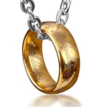 Wo-dreams Tungsten Lord of Rings One Ring Pendant Necklace,Ring Necklace (Golden,Size 11)