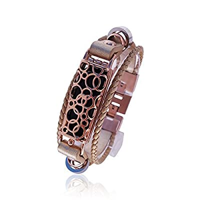 Fitbit Bracelet SOMA - FitBit flex Jewelry - Rose Gold - stainless steel - real leather