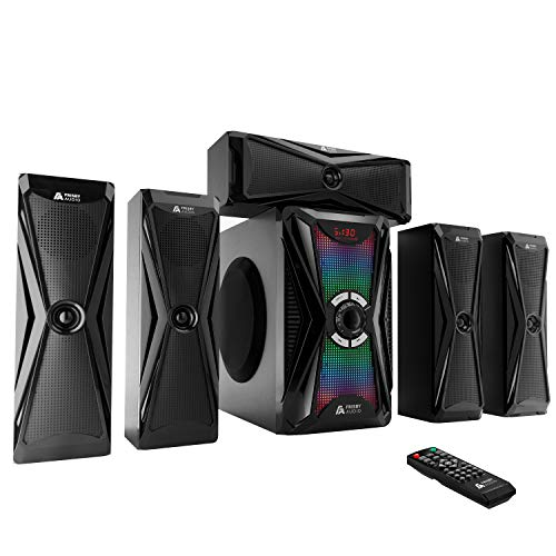 Frisby Audio 125 Watt Home Theater 5.1 Surround Sound Speaker System with Subwoofer, Bluetooth Wireless Streaming from Devices & Media Reader, RGB LED Pulse Lighting, Digital Optical Input - Black