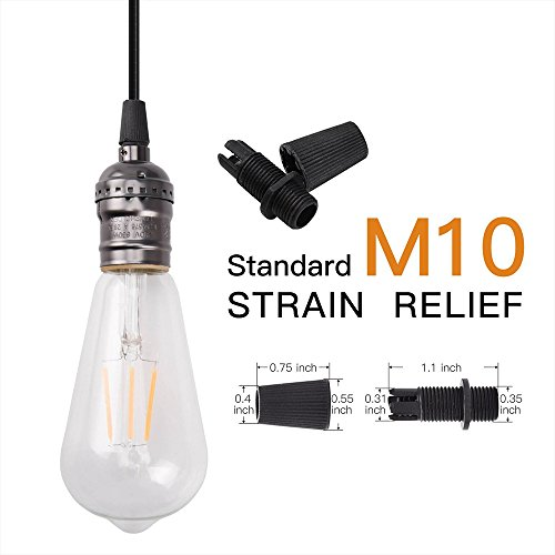 Cable Glands 50 Pairs JACKYLED Black Strain Reliefs Connectors Cord Grips for Wiring Pendant Hanging Light Ceiling Lighting