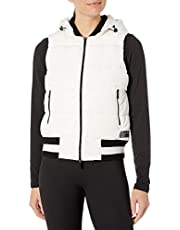Calvin Klein Women's Quilt Vest with Sweater Rib Trim and Detachable Hood