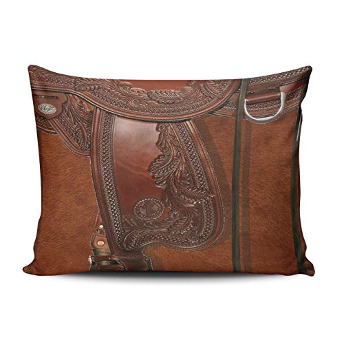 Fanaing Bedroom Custom Decor Western Leather Look Saddle Tackle Pillowcase Soft Zippered Brown Throw Pillow Cover Cushion Case Fashion Design Double-Sided Printed Boudoir 12x16 ()