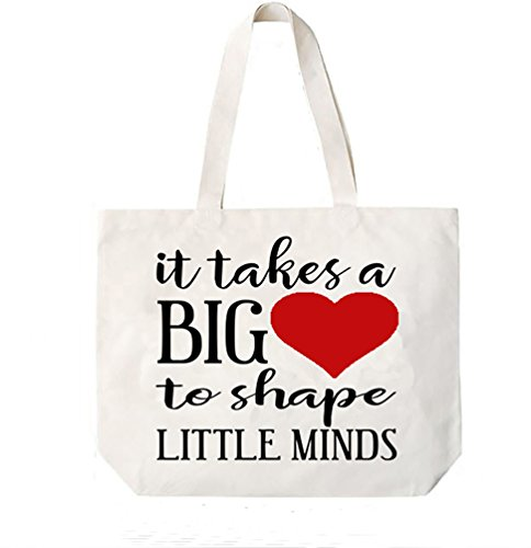 It Takes A Big Heart To Shape Little Minds Teacher Canvas Tote Book Bag Gift (Shape Bag)