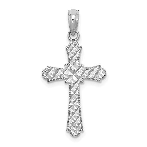 Marquis Diamond Pendant - 14K White Gold Small Charm Pendant, Diamond-cut Marquis Shapes Religious Themed Cross