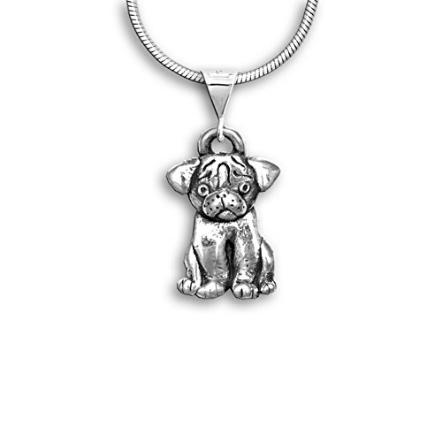 Sterling Silver Pug Pendant by The Magic Zoo (Pug Silver Sterling)
