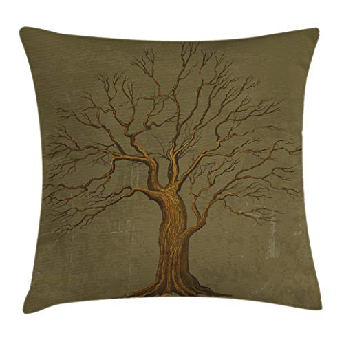 Pillow Cushion Cover, Illustration of A Big Tree on Antique Old Paper Vintage Style Artwork Design Print, Decorative Square Accent Pillow Case, 20 X 20 Inches, Olive Green ()