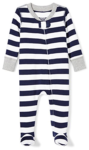 Moon and Back Baby Organic Footed Zip-Front Sleep and Play, Navy/White Stripe, 0-3 Months