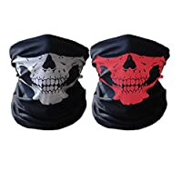 GAMPRO 2 Pcs Universal Seamless Tube Skull Face Mask, Dust-proof Windproof Motorcycle Bicycle Bike Face Mask for Cycling, Hiking, Camping, Climbing, Fishing, Hunting, Jogging, Motorcycling(Black&Red) by GAMPRO