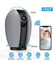 MECO WiFi IP Camera 1080P Nanny Camera Home Security Surveillance Camera Wireless Indoor CCTV with Pan/Tilt/Zoom, Night Vision, Sound/Motion Detection, Baby Pet Elder Monitor - Cloud Service Available