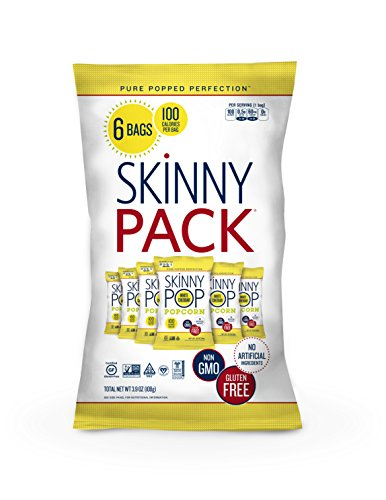 SKINNYPOP White Cheddar Popped Popcorn, 100 Calorie Bags, Individual Bags, Gluten Free Popcorn, Non-GMO, No Artificial Ingredients, A Delicious Source of Fiber, 0.65 Ounce (Pack of 6) ()