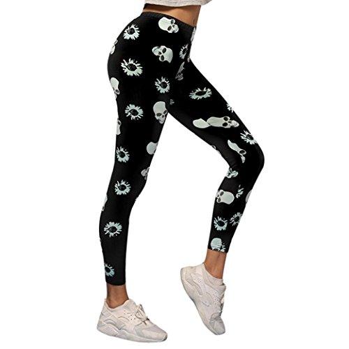 CICIYONER Mujer Impreso Deportes Yoga Gym Fitness Pantalones Leggings Athletic Pantalones Negro