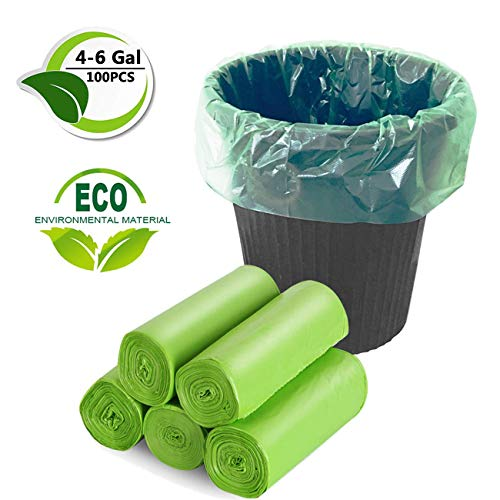 Bamyko 4-6 Gallon Biodegradable Trash Bags,Small Trash Bag Compostable Bags Recycling Garbage Bags For Kitchen Bathroom Yard Office Wastebasket Car (100 Counts,Green)